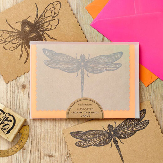Luxury Notecards pack of 6 cards with different design of bumble bee and dragon fly printed in England on brown paper with neon pink and orange envelop