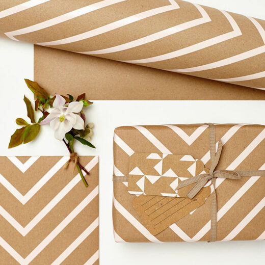 Pale pink chevron stripe on kraft paper, 2 sheets wrapping paper printed in the UK