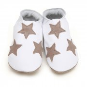 starchild taupe stars on white leather baby shoes