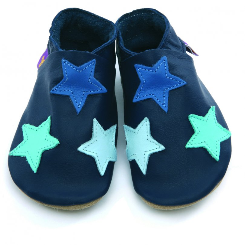 Blue coloured stars on Navy baby leather shoes, soft leather