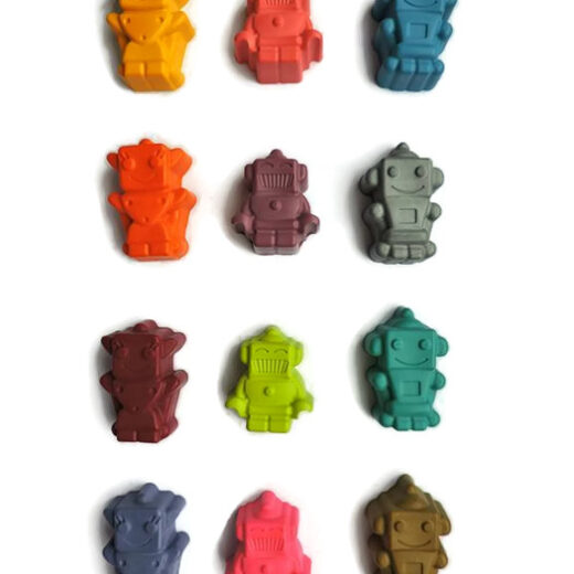 Robot shaped colours made in Britain with 100% wax