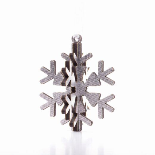 3 dimensional snowflake christmas decoration in silver finish