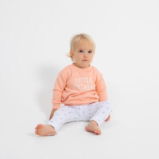 toddler wearing little pickle sweatshirt
