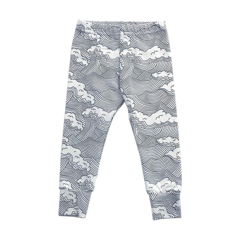 japanese inspired wave print all over on cream fabric leggings