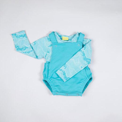 turquoise baby romper