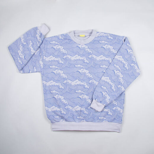 adult sweatshirt with a wave print