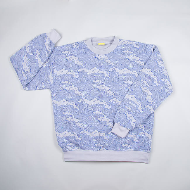 adult sweatshirt with a wave print